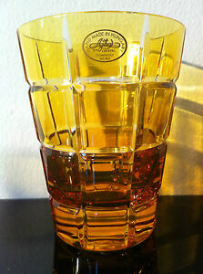 AJKA FABERGE METROPOLITAN GOLD AMBER / YELLOW WHISKEY or WATER glasses1 pc