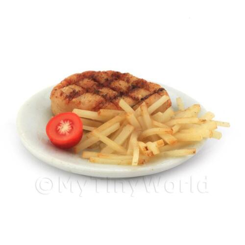 Dolls House Miniature Sirloin Steak And Chips On A Plate