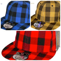 Ethos Check Fitted Flat Peak Caps, Baseball Fitted Hip Hop Hats, Urban Plaid