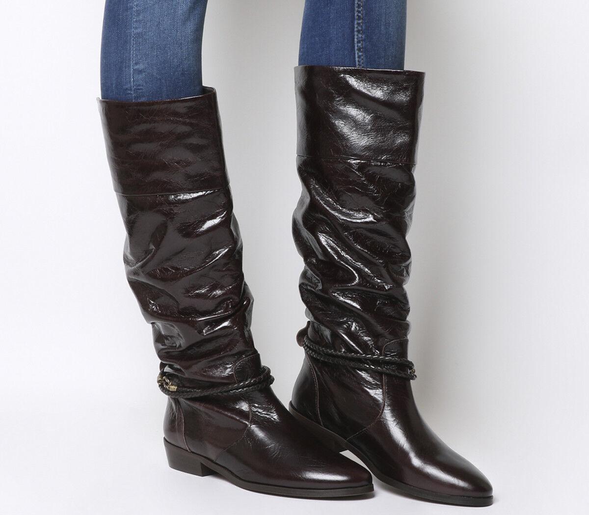 Damenschuhe Office Kassie CHOCOLATE Vintage Ruched Knee Stiefel CHOCOLATE Kassie LEATHER Stiefel c501fa