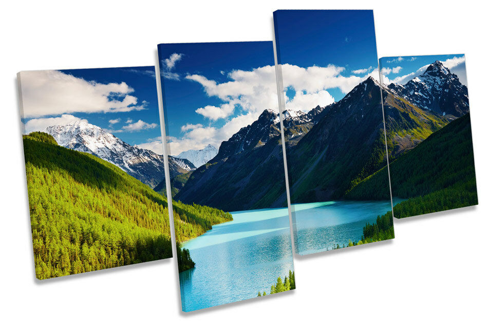 Mountain Landscape Sunset MULTI CANVAS WALL ART Picture Print