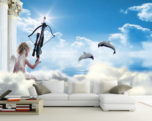 3D Angel Cupid Dolphin Paper Wall Print Wall Decal Wall Deco Indoor Murals