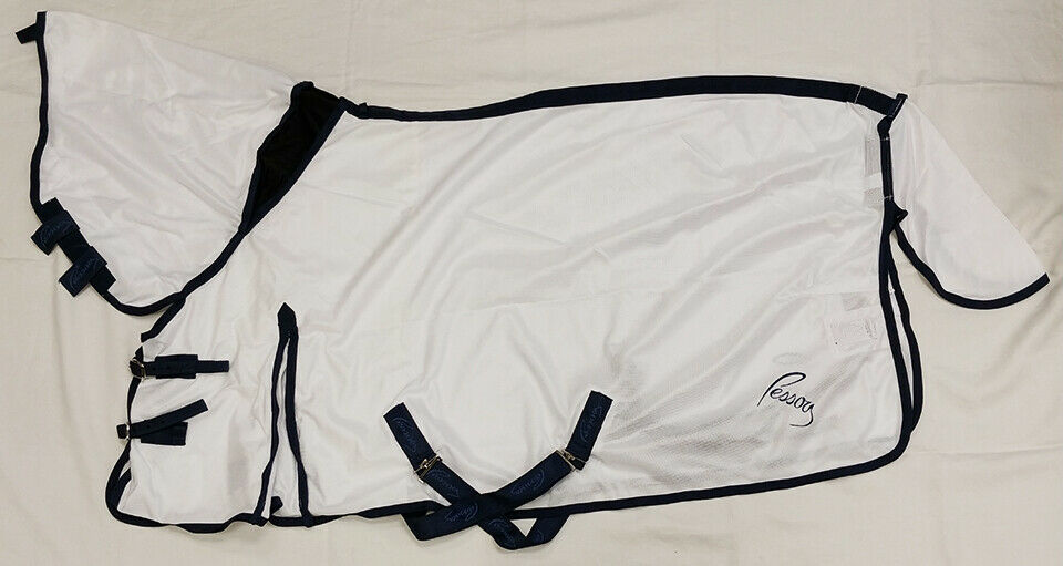 Pessoa Ultimate Fly Sheet with Fly Mask - White    Navy Trim  promotions