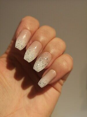 French Ombre Glitter Tip Hand Painted False Nails Ebay