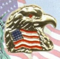 Usa American Flag & Eagle Lapel Pin With Crystal Stone Eye, 4th Of July Gift