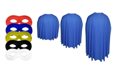 The Dragons Den Royal Blue Super Hero Cape With Any Colour Eye Mask