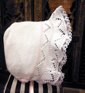 NWT-Will-039-Beth-White-Pink-Knit-Lace-Baby-Bonnet-Newborn-Girls-Boutique-Ribbon
