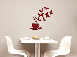 Details zu Wandtattoo Wandaufkleber Kaffee Bar Deko für Küche Kaffeetasse  Schmetterlinge