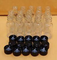 14 Bottles 4 Oz 120 Ml Clear Boston Round Glass Bottle With Black Cap Free Ship