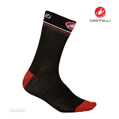 Castelli ATELIER Merino Wool Tall Cuff Womens Cycling Socks BLACK One Pair