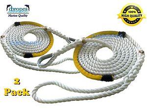"2 of 3 Strand Mooring Pendant Nylon Rope Lines 1/2""X12'+ Chafe Guard + Thimble"