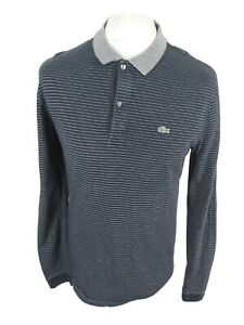 Mens-Lacoste-Long-Sleeve-Polo-Shirt-Blue-Stripe-Large-Size-5-42-Chest