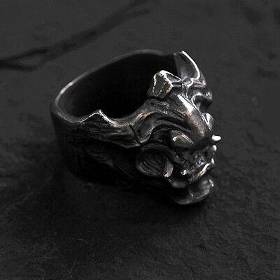 925 Silver Samurai Armour Hannya Ring Retro Handmade Men's Gift Collection