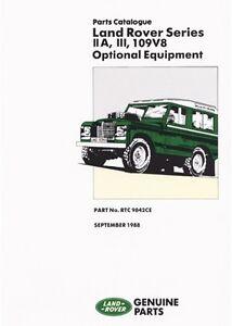 land rover series 2a 3 109 v8 optional equipment parts catalogue rh ebay co uk Land Rover Lights Range Rover V8