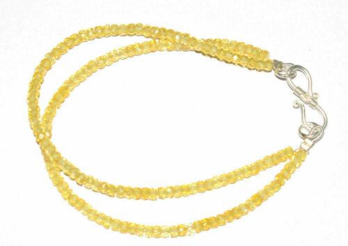 Gelb Zirkon Edelstein 925 Sterling Silber 5-10 Zoll Strang Armband 2 Schicht Z85