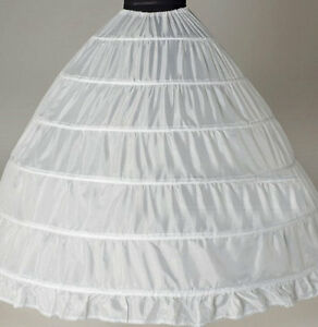 White-6-HOOP-Wedding-dress-Ball-gown-crinoline-petticoat-skirt-Super