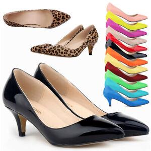Women-Low-Mid-Kitten-Heels-Slip-On-Court-Shoes-Ladies-Office-Pumps-Wedding-Sizes
