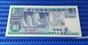 Z/2 Singapore Ship Series $1 Note Z/2 138427 Replacement Banknote Currency HTT