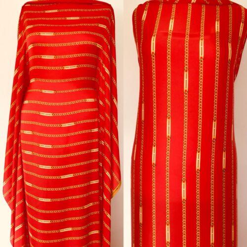 1ST Rouge de Qualité et chaîne dorée satin de soie tissu vendu au mètre