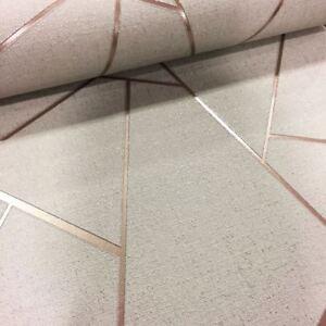 Quarz-Fraktale-Metallische-Tapeten-Beige-Rotgold-Fd42282