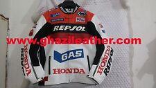 HONDA MEN MOTORBIKE LEATHER RACING JACKET RED & WHITE SIZES S,M,L,XL,2XL,3XL