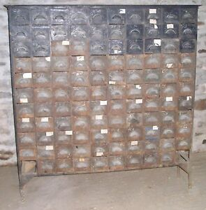 Rare Meuble D Atelier Metal Rivete 1900 110 Tiroirs Ebay