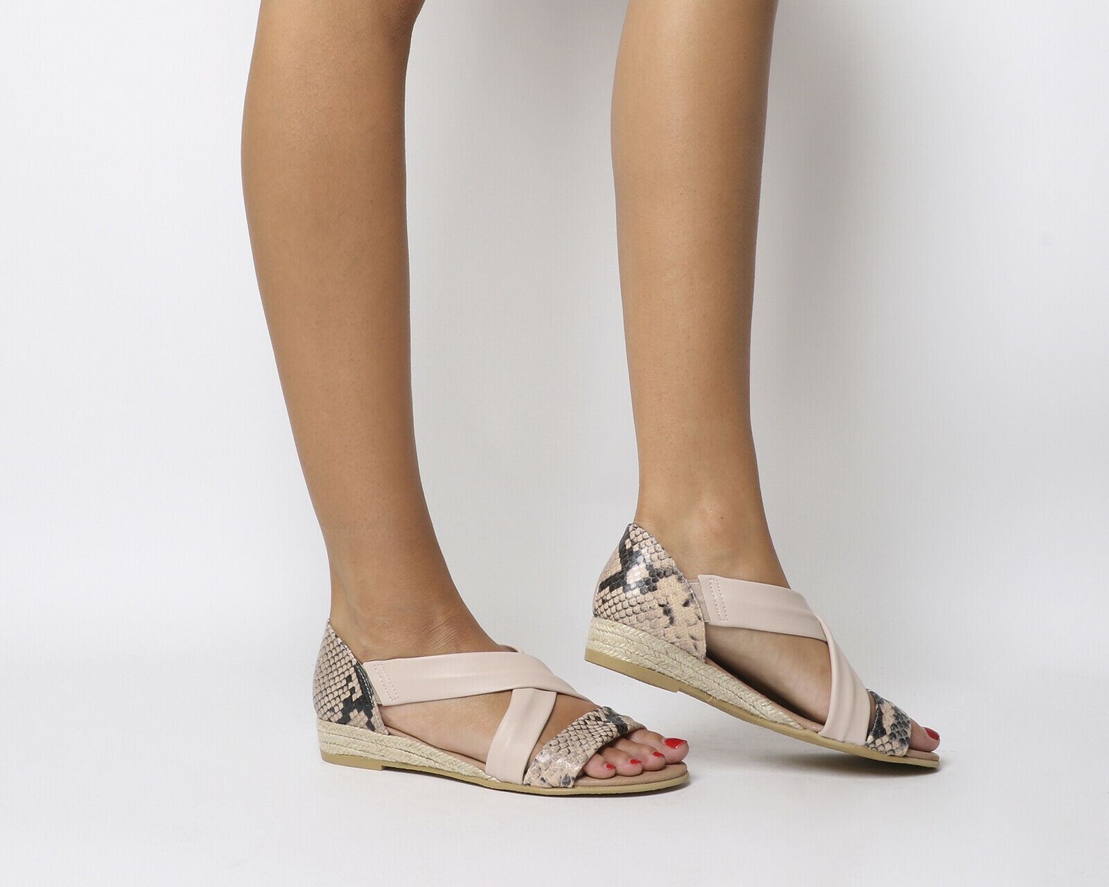 Womens Office Hallie Cross Strap Espadrilles Nude Leather Snake Sandals