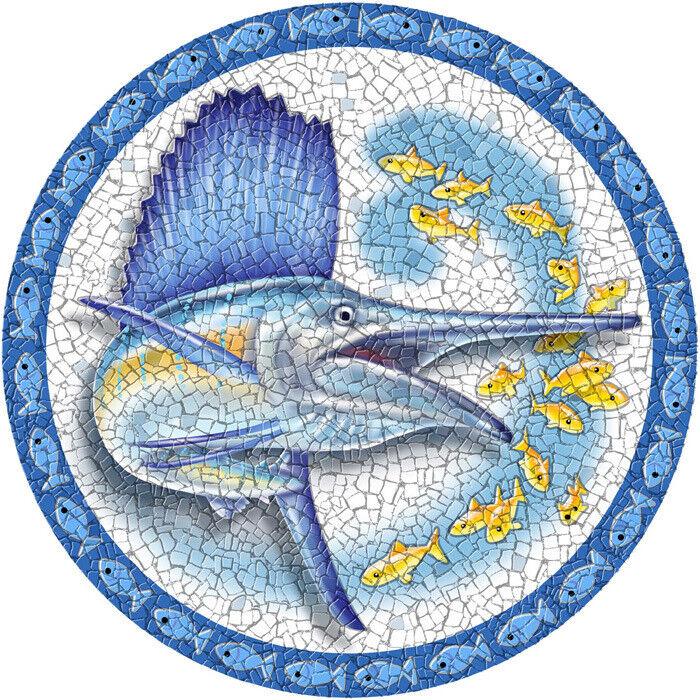 23  MEDIUM Mosaic Sailfish Drop-in PoolArt™