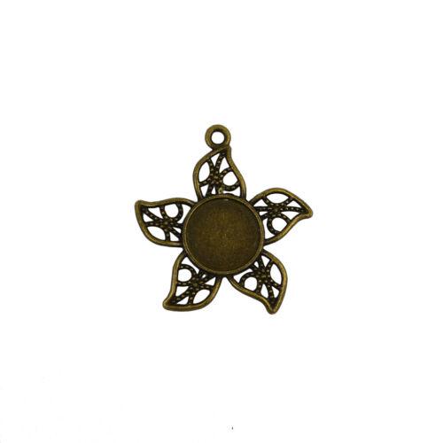 20pcs Antique Bronze 12mm Round Cameo Cabochon Settings Bezel Pendants Tray