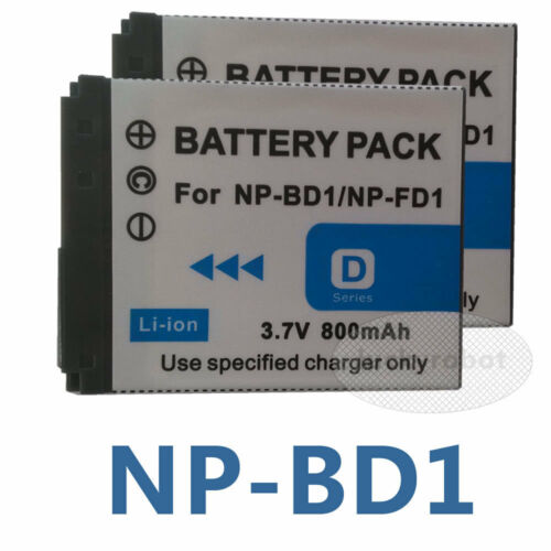 2 Pack NP-BD1 Batería Para Sony NP-FD1 DSC-T900 T300 T200 T90 T70 G3 DSC-TX1