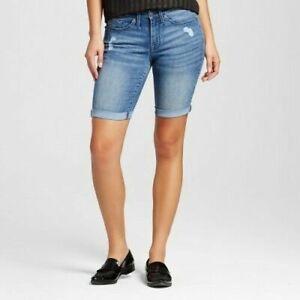 Mossimo Women/'s Mid Rise Bermuda Denim Jean Shorts Dark Wash Size 00