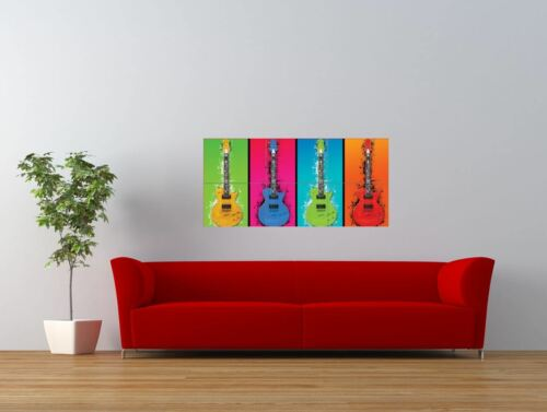 Guitars Pop Warhol Style Colour Giant Wall Art Poster Print