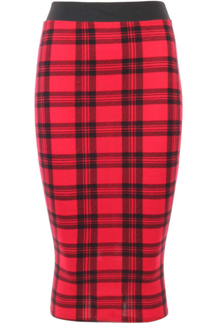 Womens Red Tartan Check Print Wiggle Bodycon Ladies Office Pencil Skirt 8-14