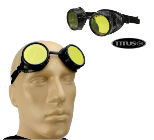 TITUS AVIATION PILOT STYLE BIKER MOTORCYCLE CUP GOGGLES SAFETY GLASSES ANSI Z87