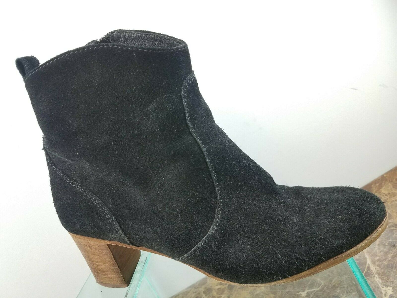 J. Crew Black Suede Leather Block Heel Round Toe Ankle Booties Womens 11M