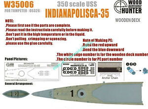 Hunter W35006 1//350 Wood deck USS Cruiser Indianapolis for Trumpeter Top quality
