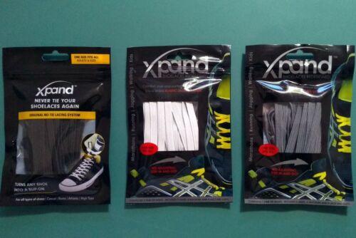 Black /& Gray Lot of 3 Xpand Laces No-Tie One Size Elastic Shoelaces White