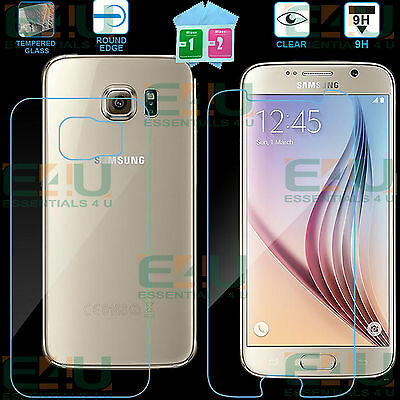 Front + Back 9H Clear Tempered Glass Screen Protector For Samsung Galaxy S6