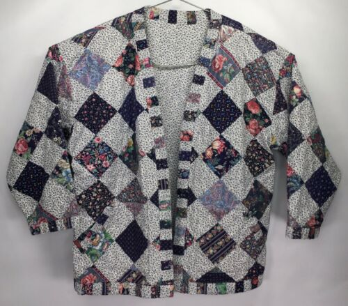 Vintage Handmade Diamond Patchwork Quilt Jacket Co