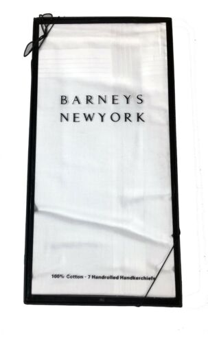 Barneys 7 Handrolled Handkerchiefs 100/% Cotton Great Gift! Gift Box