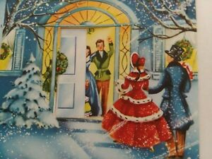 UNUSED-Vtg-COUPLE-at-Moving-DOOR-Opens-Mid-Century-CHRISTMAS-GREETING-CARD