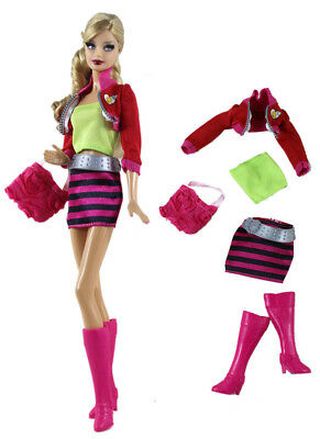 7PCS Set Outfit Clothes+shoes FOR 11.5in.Doll Clothes Girl Gift