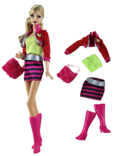 5PCS Set Top+vest+skirt+boots+bag FOR 11.5in.Doll Clothes Girl Gift