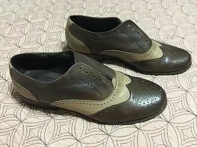Fashion Women Brown Color Stitching Oxford Vintage Retro Brogue Shoes Sz 6.5 37