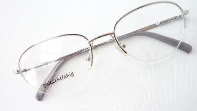 Montatura Occhiali Telaio In Metallo Argento Solo Bordo Superiore Classica Stile Ovale Misura M- Sapore Aromatico