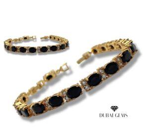 Tennis bracelet Yellow gold finish Dubai Black onyx and Created Diamond