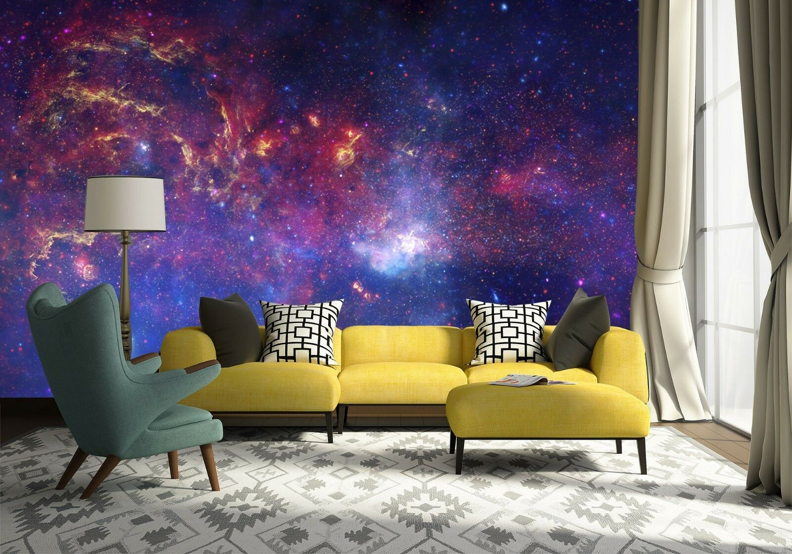 3D Starry sky universe Wall Paper Print Decal Wall Deco Indoor wall Mural