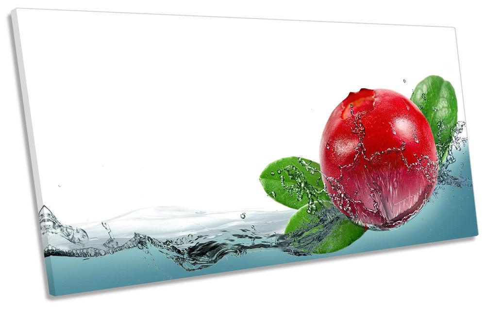 rot Cherry Splash Kitchen Framed PANORAMIC CANVAS PRINT Wall Art