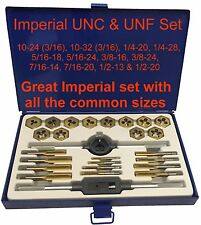 UNF UNC Imperial SAE Tap And Die Set 1//8-1//2 Coarse Fine 24pc Set