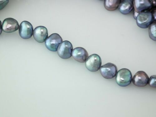 baroque Peacock Black 7mm freshwater loose pearl string by Pearls Direct